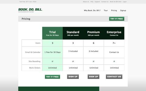 Screenshot of Pricing Page bookdobill.com - Pricing - Book Do Bill - Business Management & Service CRM - captured Sept. 30, 2014