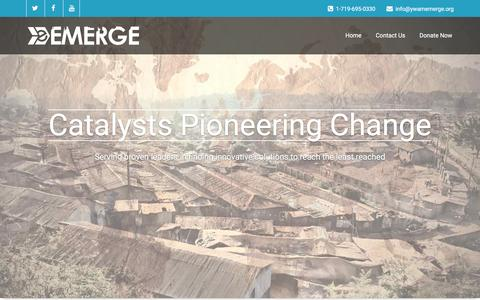 Screenshot of Home Page ywamemerge.org - Catalysts Pioneering Change - captured July 19, 2016