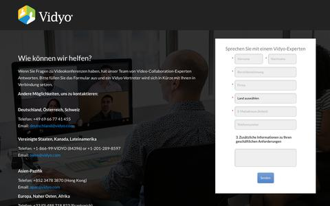 Screenshot of Landing Page vidyo.com - Contact Vidyo Video Conferencing Sales Team - captured April 26, 2018