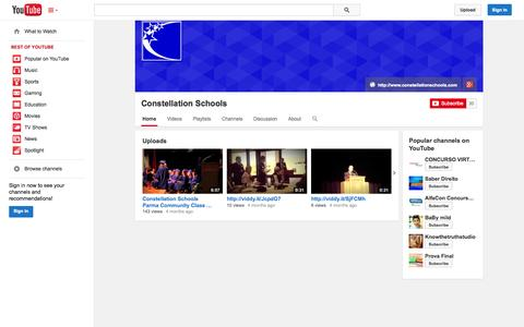 Screenshot of YouTube Page youtube.com - Constellation Schools  - YouTube - captured Oct. 23, 2014