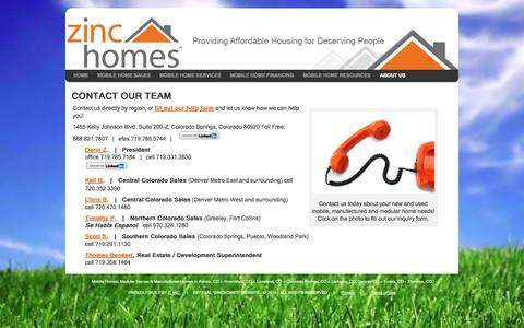 Screenshot of Contact Page zinchomes.com - CONTACT OUR TEAM - Zinc Homeszinc homes - captured Oct. 27, 2014