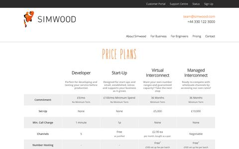 Screenshot of Pricing Page simwood.com - Pricing | Simwood - captured Nov. 5, 2017