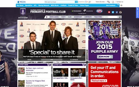 Screenshot of Home Page fremantlefc.com.au - Fremantle home - captured Sept. 19, 2014
