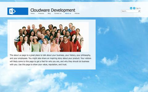 Screenshot of About Page cloudwaredev.com - About us - captured Oct. 2, 2014