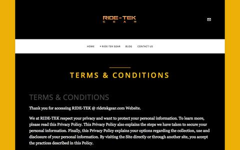 """Screenshot of Terms Page ridetekgear.com - Terms & Conditions — """"A Dealer Driven Company"""" - captured Oct. 6, 2014"""