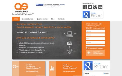 Screenshot of Home Page adveischool.com - AdveiSchool - Cursos Google AdWords y Analytics | Cursos AdWords™ y Analytics™ - captured Sept. 19, 2014