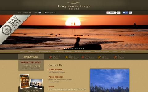 Screenshot of Contact Page longbeachlodgeresort.com - Tofino Hotel Accommodations at Long Beach Lodge Resort | Contact Us - captured Sept. 19, 2014