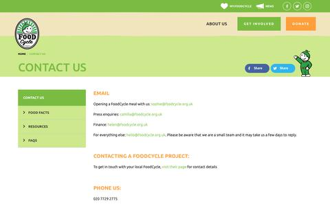 Screenshot of Contact Page foodcycle.org.uk - Contact Us - FoodCycle - captured Aug. 19, 2018