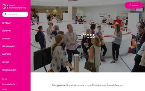 Screenshot of Press Page biblioteksforeningen.se - Press - Svensk biblioteksförening - captured July 4, 2018