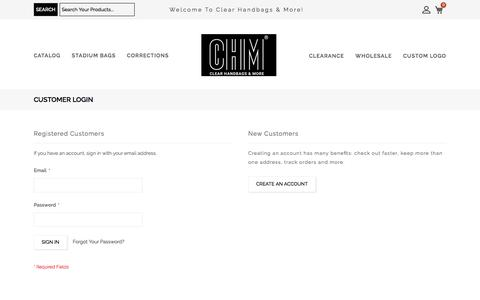 Screenshot of Login Page clear-handbags.com - Customer Login - Clear Handbags & More - captured Oct. 14, 2019