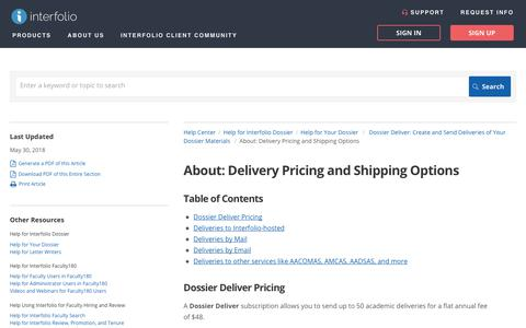 Screenshot of Pricing Page interfolio.com - About: Delivery Pricing and Shipping Options | Help for Your Dossier  | Help Center - captured Jan. 3, 2019