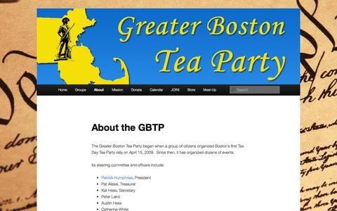 Screenshot of About Page greaterbostonteaparty.com - About the GBTP | Greater Boston Tea Party - captured Sept. 30, 2014