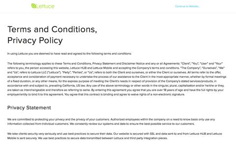 Screenshot of Terms Page lettuceapps.com - Terms and Conditions - Privacy | Lettuce - captured Sept. 16, 2014