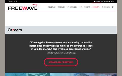 Screenshot of Jobs Page freewave.com - Freewave IIoT Careers - captured June 28, 2017