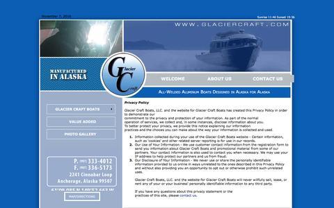 Screenshot of Privacy Page glaciercraft.com - Glacier Craft Boats    Contact Us    Privacy - captured Nov. 7, 2016