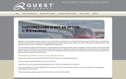 Screenshot of Support Page questaircraft.com - Home - Quest AircraftQuest Aircraft | Creators of the KODIAK - captured Sept. 19, 2017