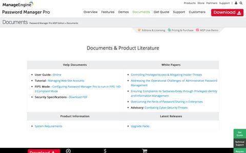 MSP Password Management - Documents