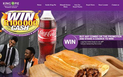 Screenshot of Home Page kingpie.co.za - King Pie: Home of Mnandi-licious Pie's - captured Jan. 9, 2016