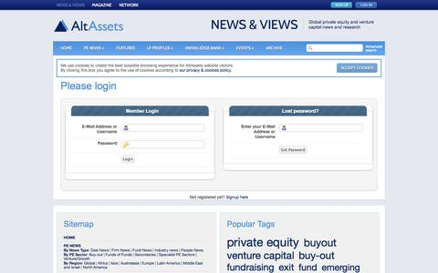 Screenshot of Login Page altassets.net - Please login |  AltAssets Private Equity News - captured Oct. 29, 2014