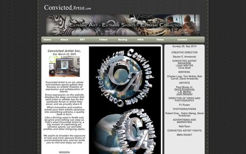 Screenshot of About Page convictedartist.com - CONVICTED ARTISTS ART, TATTOOS, COMICS, PHOTOGRAPHY, BOXING, PROSE, INTERVIEWS AND REVIEWS - captured Sept. 30, 2014