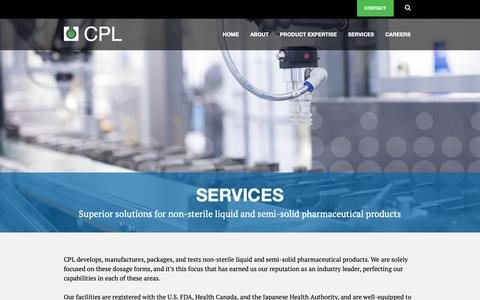 Screenshot of Services Page cplltd.com - Liquid And Semi-Solid Pharmaceutical Products | Contract Pharmaceuticals Limited - captured Sept. 29, 2018