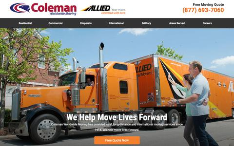 Screenshot of Home Page colemanallied.com - Coleman Worldwide Moving (Allied Movers/Moving Companies) - captured Sept. 26, 2018