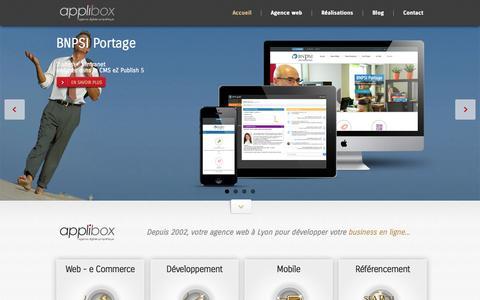 Screenshot of Home Page Menu Page applibox.com - Applibox - Agence Web Lyon - captured Sept. 19, 2014