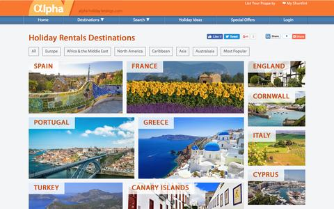 Screenshot of Site Map Page alphaholidaylettings.com - Holiday Rentals Destinations   Villas in Spain, UK, France & more - captured July 25, 2016