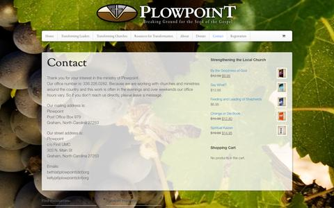 Screenshot of Contact Page plowpoint.org - Contact - Plowpoint - captured Sept. 30, 2014