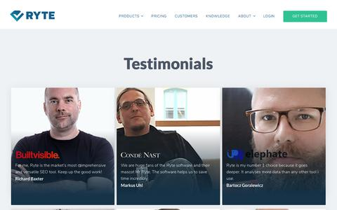 Screenshot of Testimonials Page ryte.com - Testimonials: Reviews by our customers - captured Oct. 20, 2017