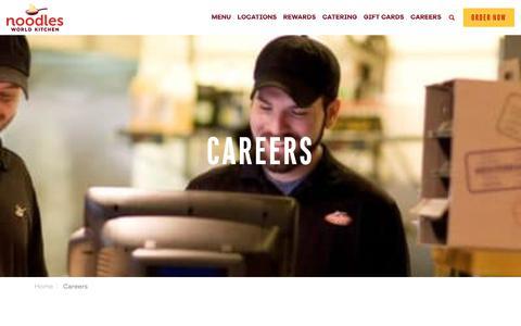 Screenshot of Jobs Page noodles.com - Careers ~ Noodles World Kitchen - captured Aug. 4, 2018
