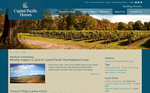 Screenshot of Press Page cphhomes.com - Capital Pacific Development News - captured Sept. 27, 2018