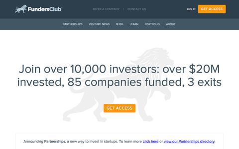 Screenshot of Home Page fundersclub.com - Invest in Startups Online, Startup Investing - FundersClub - captured Sept. 16, 2014