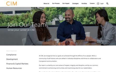 Screenshot of Jobs Page cimgroup.com - Careers | CIM Group - captured Nov. 18, 2018
