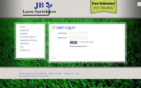 Screenshot of Login Page jblawnsprinklers.com - User Log In - captured Oct. 3, 2014