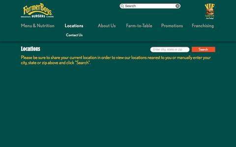 Screenshot of Locations Page farmerboys.com - Locations   Farmer Boys - captured Nov. 1, 2017