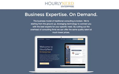 Screenshot of Landing Page hourlynerd.com - HourlyNerd. The Future of Consulting - captured Feb. 11, 2016