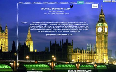 Screenshot of Jobs Page securedsolutionsltd.co.uk - Careers - Secured Solutions Limited - captured Oct. 9, 2014