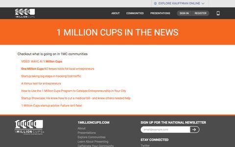 Screenshot of Press Page 1millioncups.com - News   1MillionCups.com - captured Jan. 23, 2016