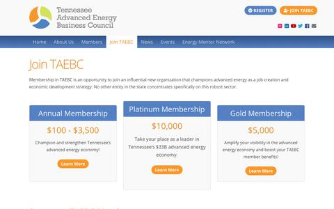 Screenshot of Signup Page tnadvancedenergy.com - Join TAEBC - Tennessee Advanced Energy Business Council - captured Oct. 18, 2018