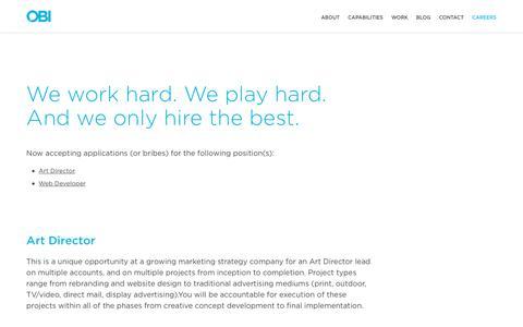 Screenshot of Jobs Page obicreative.com - Careers - captured Jan. 19, 2018