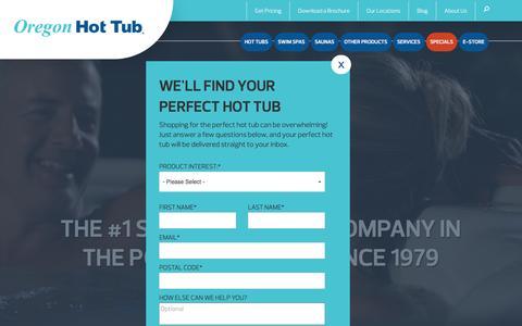 Screenshot of Home Page oregonhottub.com - Hot Tubs   Swim Spas   Saunas   Oregon - captured Nov. 30, 2016
