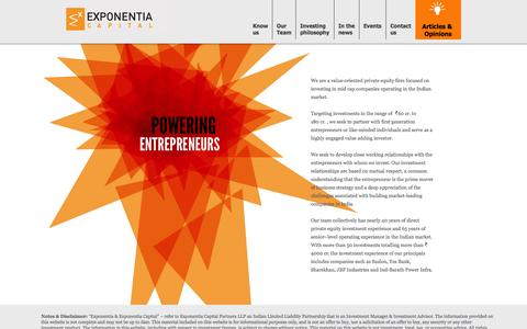 Screenshot of Home Page exponentiacap.com - Private Equity PE – India – Venture Capital VC – Exponentia Capital - captured Oct. 3, 2014
