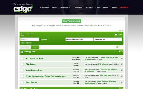 Screenshot of tournamentpokeredge.com - Poker Forum | tournamentpokeredge - captured March 20, 2016