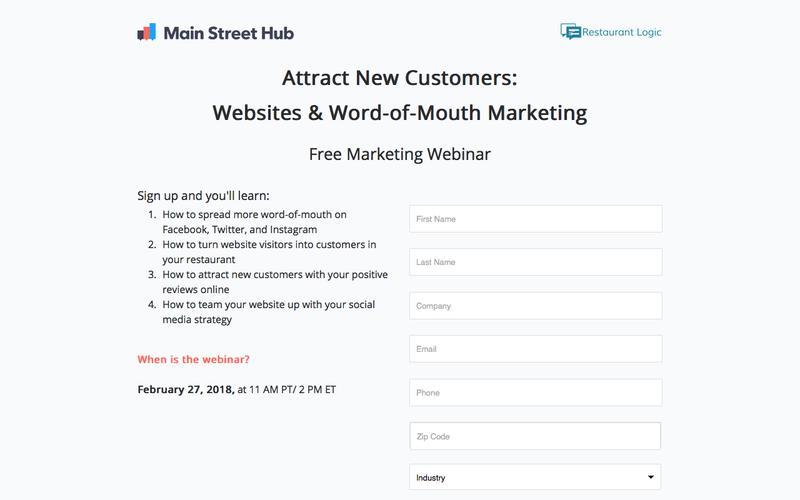 Free Webinar: Main Street Hub & Restaurant Logic
