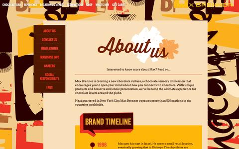 Screenshot of About Page maxbrenner.com - Max Brenner About Us - captured Oct. 27, 2014