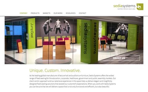 Screenshot of About Page sediasystems.com - Fixed Seating Solutions | Innovative, Custom & Unique - captured Aug. 11, 2016
