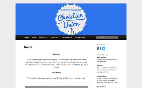 Screenshot of Home Page newcastle-cu.com - Newcastle University Christian Union - captured June 9, 2016