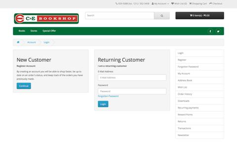 Screenshot of Login Page cebookshop.com - Account Login - captured Nov. 23, 2016