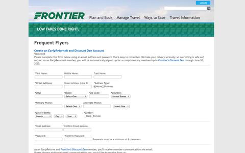 Screenshot of Signup Page flyfrontier.com - Frontier Airlines | Join EarlyReturns - captured Oct. 29, 2014